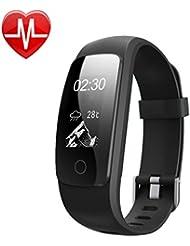 YAMAY Fitness Tracker mit Pulsmesser Herzfrequenz Fitnessuhr Aktivitätstracker Fitness Armband uhr Pulsuhren Wasserdicht IP67 Bluetooth Schrittzähler mit Stoppuhr/Wettervorhersage /14 Trainingsmodis/Anrufe/SMS/SNS/ Alarm bei Bewegungsmangel für Android und iOS Smartphones