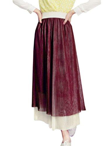 En maille pour femme Motif Sweet Taille élastique Jupe plissé Bordeaux