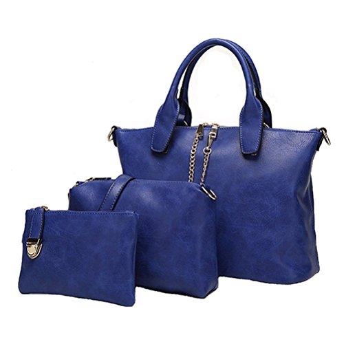 Honeymall Donna Borsa Set In Pelle 3 Pezzi Pu Borse Rosso Blu