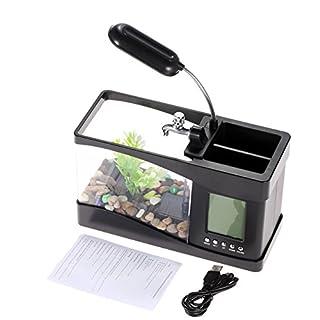 Etbotu aquarium Usb Mini Aquarium Wasser Lauf LED Pump Licht Kalender Uhr Elektronische Aquarium