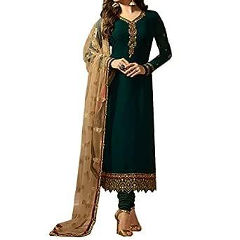 Ethnic Empire Women's Georgette Semi Stitch Salwar Suit (Ethnic_ER107101_Green_Free Size)