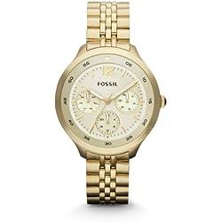 Fossil The Editor Multifunktion ES3240 - Reloj para mujeres, correa de acero inoxidable chapado color dorado
