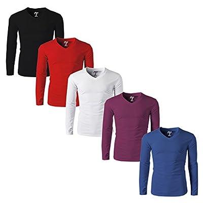 Tripr Men's V-NEck Full Sleeves Tshirt Combo pack of 5