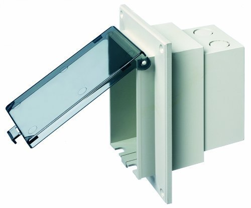 Arlington DBVR1C-1 Outdoor Electrical Box with Weatherproof Cover for Flat Surface Construction, Clear, Vertical/1-Gang by Arlington Industries -