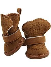 Zapatos para perros Pelusa gruesa Resbalón de goma Gatos para mascotas Zapatos de algodón Diseño de cabeza redonda Botas de nieve para…