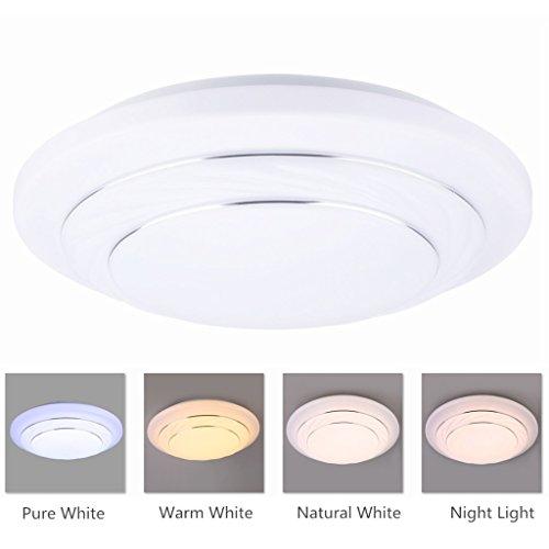 Floureon CL-X103 Plafonnier LED Rond 3500k ~ 6400K Réglable Environ 4000LM 24W Convient pour Chambre Salon Cuisine Balcon Ect - Blanc / Blanc Naturel / Blanc Chaud à Option