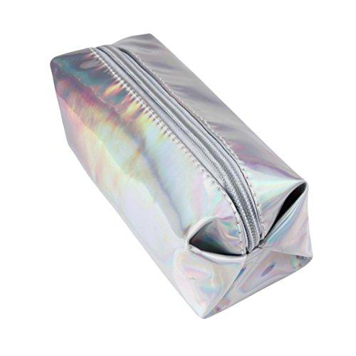 Vovotrade® Mode Hologram Cosmétiques Sac Crayons Porte-stylo Sacs de Maquillage Rangement avec Fermeture à Glissière (Argent)