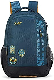 Skybags Stream Polyester 1811 cm Blue Spacious School Backpack with Rain Cover, large (SBSTRM1AGN)