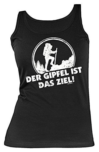 Damen Träger Shirt Wandern Bergsteigen Tank Top Klettern : Der Gipfel ist das Ziel! - lustiges Sprüche Sportshirt Frauen Gr: M -