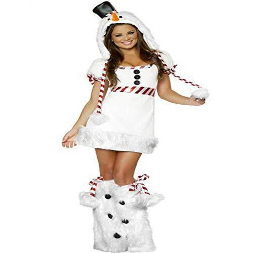 Kostüm Spielt Weihnachten Für - CVCCV Weihnachten Schneemann spielt Uniform Halloween Tier Performance Kostüm Polyester Stoff Geeignet für Frauen (weiß)