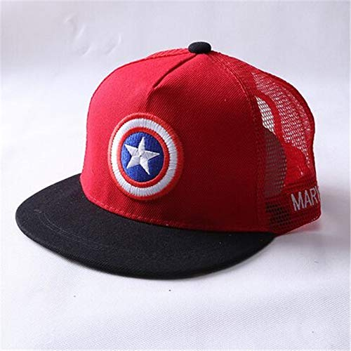 qqyz2323 Summer Childrens Baseball Cap Boys & Girls Cartoon Captain America Snapback Adjustable Kids Hip Hop Hat Sun Mesh Cap Rot (Captain America Winter Hut)