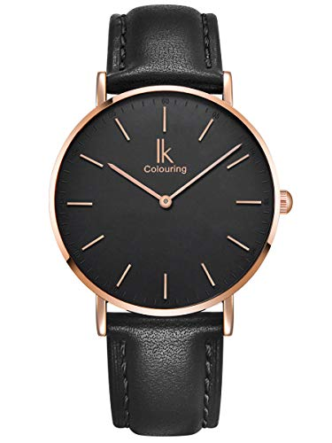 Alienwork Damen Herren Armbanduhr Quarz Rose-Gold mit Lederarmband schwarz Ultra-flach Slim-Uhr