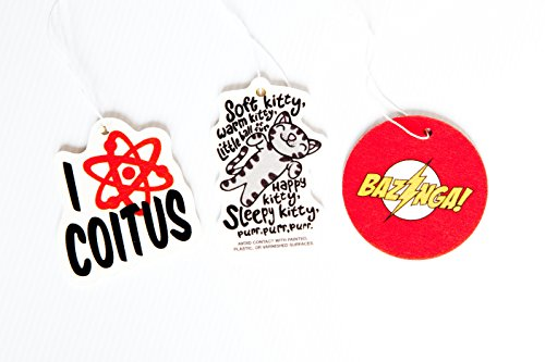 The Big Bang Theory Air Freshener Set of 3 - Bazinga, Soft Kitty, and I Love Coitus