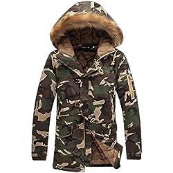 QK-Lannister Giacca Invernale da Uomo Giacca con Long Warm Cappuccio Winter Ragazzo Jacket Camouflage Pattern Felpa con Cappuccio in Pelliccia Giacca A Maniche Lunghe (Color : Armee Grün, Size : L)