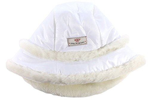 UGG Womens Nylon Hat With Exposed Short Pile Trim In White (Ugg Boot Short Womens)