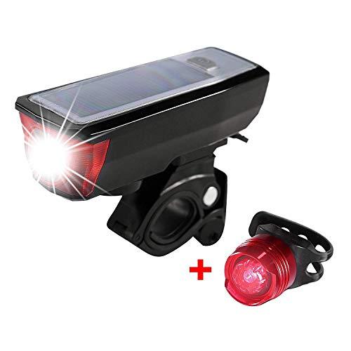 Louvra Luci Per Bicicletta,Luci Led Ricaricabili USB e Ricarica Solare,Luce Bici Impermeabile Con Clacson di 120db Per Bici Strada e Montagna, Bici Bambino- Sicurezza per la Notte