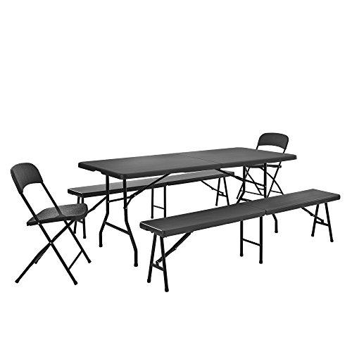 garten e tischgruppe [casa.pro]®] Tischgruppe mit 2 Stühlen und Bänken grau Sitzgarnitur Gartenmöbel Camping Set