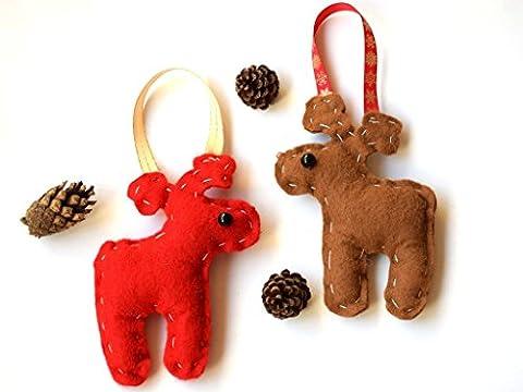 Weihnachtsren Verzierung Filz Hirsch Rotwild Baumdekor Weihnachtsdekoration Weihnachtsbaumdekor geschenk Weihnachtsgeschenk Weihnachts festbevorzugungen Rentier Ren Weihnachten ornamente