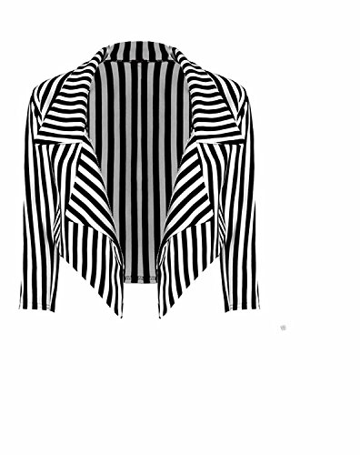New women's ladies waterfall style 3/4 sleeve vertical stripe blazer jacket