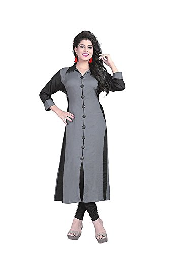 Pramukh Fashion Women\'s Crepe kurtis (GREY SKARP)_Free Size semi stich