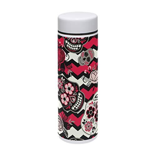 Sugar Skull Edelstahl-Vakuum-isolierte Flasche 200 ml Thermos hält Wasser für 24 Stunden kalt und heiß für 12 Stunden Kaffee Reise
