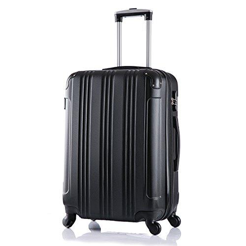 WOLTU RK4206sz, Reise Koffer Trolley Hartschale Volumen erweiterbar, Reisekoffer Hartschalenkoffer 4 Rollen, M/L/XL/Set, leicht und günstig, Schwarz (L, 67 cm & 70 Liter)
