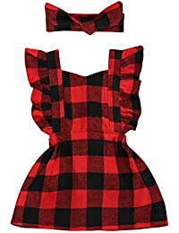 beb31c2ba7cc Toddler Kids Baby Girl Ruffle Sleeveless Cotton Plaids Casual Dresses (Red,  12-18