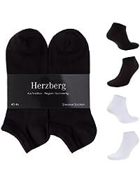 6 Paar Herzberg Sneaker Socken Herren Damen weiß schwarz Baumwolle 35-38, 39-42, 43-46 Comfort-Halt im Alltag und Sport rutschfest an der Ferse/im Schuh ohne Schriftzug atmungsaktiv langlebig
