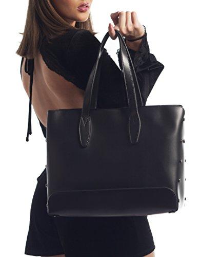 Original JQ Designer Handtasche, Henkeltasche, Schultertasche (Bag in Bag) für Damen in Schwarz. Jakquzel Luxury Collection Giulia Schwarz