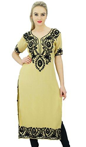 Bimba Le concepteur de georgette femmes tunique brodée kurta Kurti haut blouse droite indien Beige