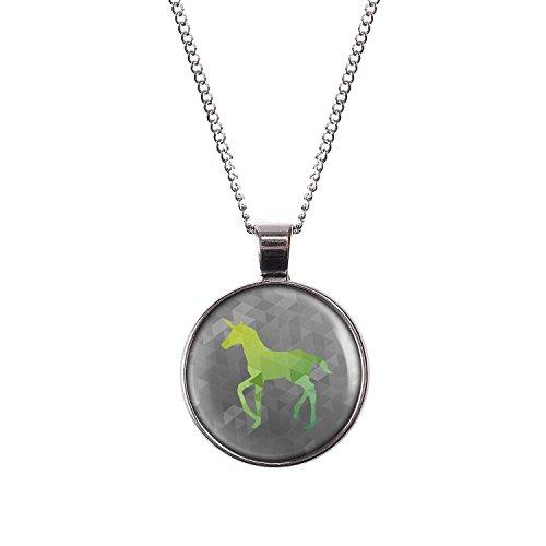 Mylery Halskette mit Motiv Einhorn Grün Elegant Weiß -