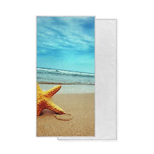 XiangHeFu Ultraweiche Sport-Luxusmehrzweckhochsaugfähige Badehandtuch-Starfish auf der Strand-Seeblauer Himmel-Dusche
