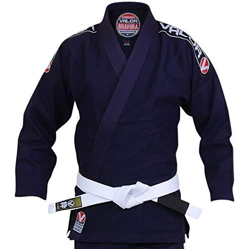 Valor Bravura Kimono BJJ GI color azul marino con cinturón blanco de regalo, A2