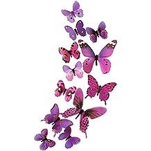 DEKOWEAR 3D Mariposas conjunto realista de 12 Decoración de la pared con Puntos de Adhesivo para fijar la pared Decoración de la pared etiqueta de la pared Decal (Púrpura)