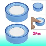 Sonline 2 x Esponja Mojada Caja Redonda de Plastico Azul Transparente para Cajero, Diametro de 6.9cm