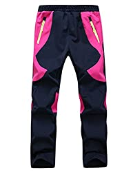Echinodon Kinder Gefütterte Hose Softshellhose Winddicht Wasserabweisend Atmungsaktiv Warm Regenhose Skihose Jungen Mädchen Rosa L