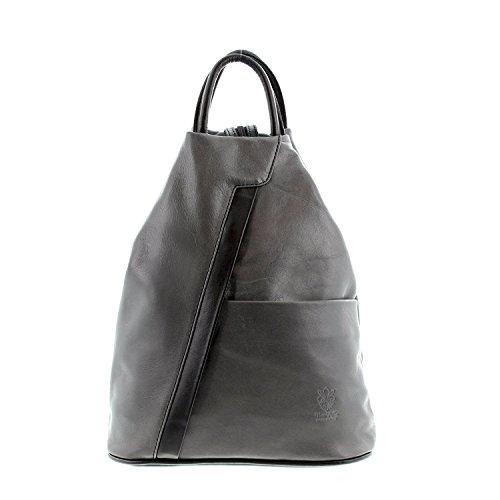 IO.IO.MIO leichter echt Leder Damenrucksack CityRucksack DayPack freie Farbwahl , 27-18x30x13 cm (B x H x T) (grau/schwarz)