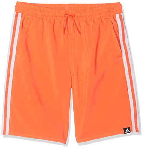 Adidas 3 Stripes Classic Length Youth Swim Shorts, Niños, True Orange, 11-12A