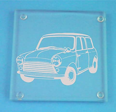 Set of 4 Glass Coasters With Classic Mini Cooper