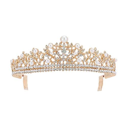 all Perle Tiara, Prom Queen Crown Hochzeit Krone Braut Prinzessin Kopfschmuck Schmuck Braut Haarschmuck (Golden) ()