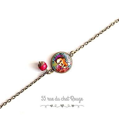 bracelet chaine fine, cabochon Frida Khalo, multicouleur, fushia rose turquosie, Mexique