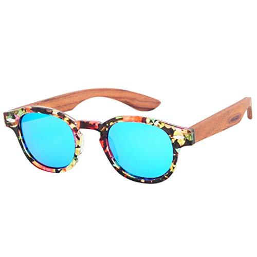DAIYSNAFDN Holz Sonnenbrille Frauen Runde Bambus Sonnenbrille Für Männer Polarisierte Spiegel Beschichtung Linsen Eyewear C5