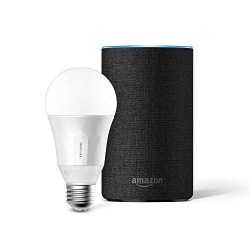 Das neue Amazon Echo (2. Generation), Anthrazit Stoff inkl. TP-Link Smart LED E27 Glühbirne