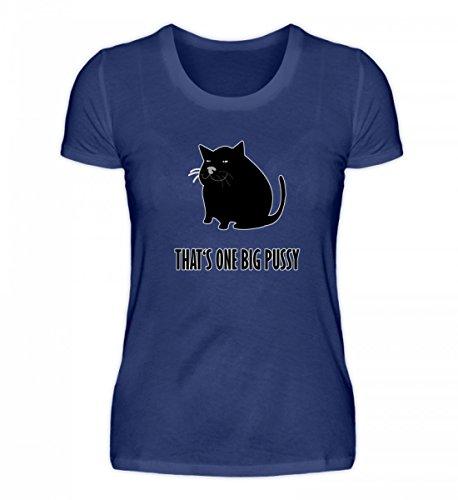 Shirtee Hochwertiges Damen Organic Shirt - That's One Big Pussy - Lustige Dicke Katze Spruch Lila Blau
