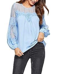 Primavera y Otoño Mujeres Suelto Tops Cuello Redondo Manga Linterna Camisetas Blouses Moda Tul Costura T