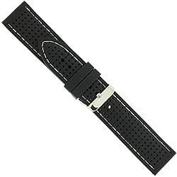 "Uhrbanddealer 20mm Ersatzband Uhrenarmband Silikon Band "" Silikon Trend "" Schwarz - Weiss Wasserfest Schließe massiv"