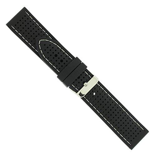 Uhrbanddealer Unisex Uhrenarmband 18mm Ersatzband Silikon-Trend Naht Weiß 4004818