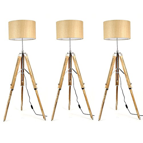 Handloom Fabric Brown Shade Natural Finish Wooden Tripod Floor Lamp