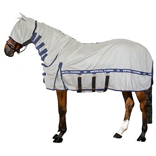 Imperial Riding - UV/Fly blanket - Fliegendecke mit UV-Schutz, Hals, Maske und Bauchlatz - Silver Grey Navy - 195