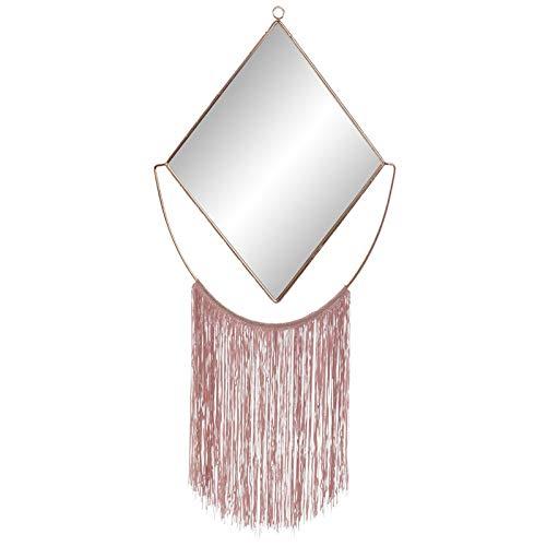 Espejo Pared Decorativo, de Metal, Color Dorado, con Flecos, para Dormitorio. Diseño...